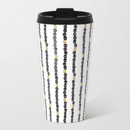 Black and Gold Skull Dots Metal Travel Mug