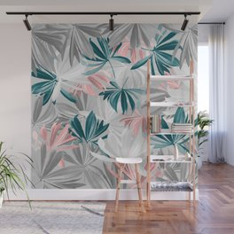 Seamless Calm Pattern Floral Leaves Wall Mural