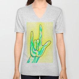 ASL I Love You Baby Yellow Unisex V-Neck
