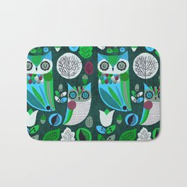 Night Owls Retro Pattern Bath Mat