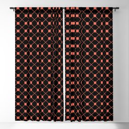 Pantone Living Coral Thin Line Stripe Grid (Pinstripe) and Polka Dots on Black Blackout Curtain