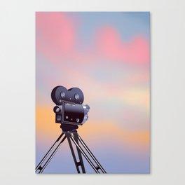 Vintage Movie camera sunset Canvas Print