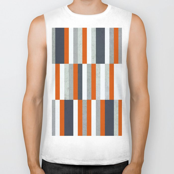 Orange, Navy Blue, Gray / Grey Stripes, Abstract Nautical Maritime Design by Biker Tank