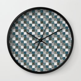 Rustic Gray Turquoise Green Beige Patchwork Wall Clock