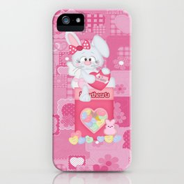 Valentines Bunny and Conversation Hearts Candy iPhone Case