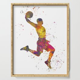 Basketball player 02 in watercolor Serving Tray