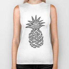 Pineapple Black and White Pattern Biker Tank