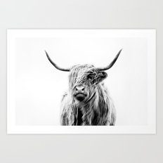 portrait of a highland cow (horizontal by request) Art Print