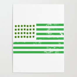 USA American Flag St. Patrick's Day Irish Poster