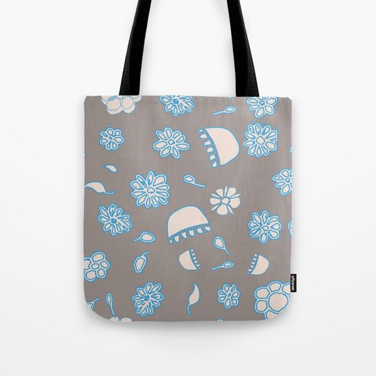 Flower border blue Tote Bag