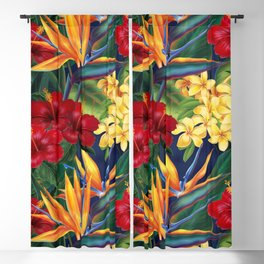 Tropical Paradise Hawaiian Floral Illustration Blackout Curtain