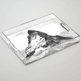 Black and White Mountain Acrylic Tray