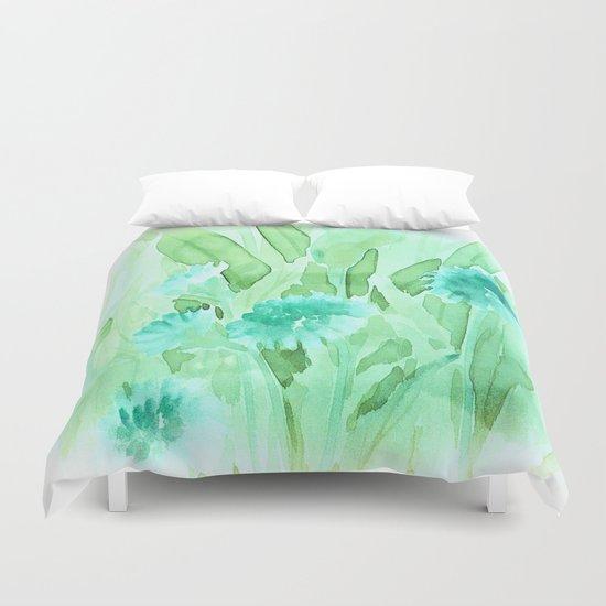 Soft Watercolor Floral Duvet Cover