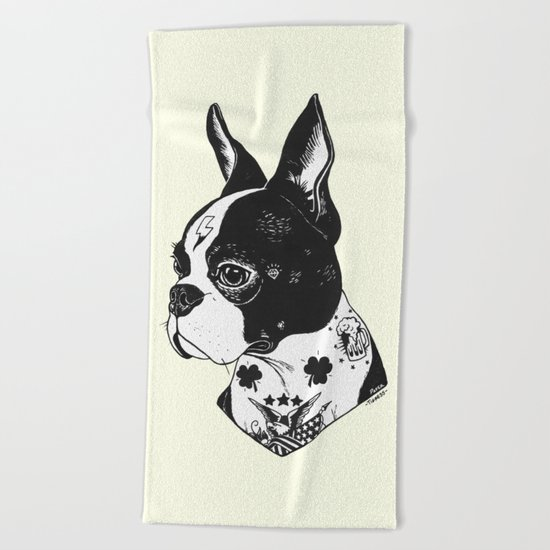 Dog - Tattooed BostonTerrier Beach Towel