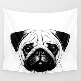 Black White Pug Pencil Sketch Wall Tapestry