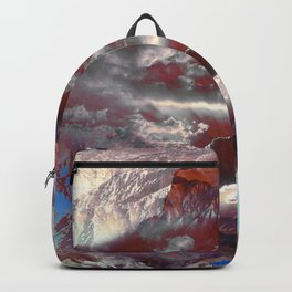 Painted cloudy mountain landscape Backpack