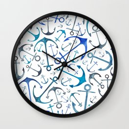 Nautical Watercolour Anchors Wall Clock