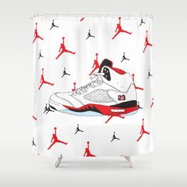 Jordan 5 Fire Red Shower Curtain