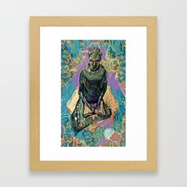 A Woman with a book mixed media art with patterns Framed Art Print