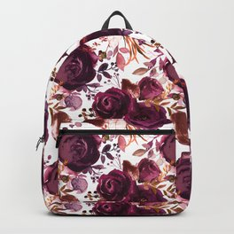 Burgundy pink white watercolor hand painted floral Backpack