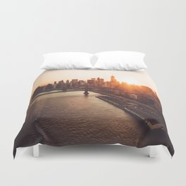 nyc aerial view Duvet Cover