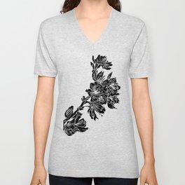 Cherry Blossom Block Print Unisex V-Neck