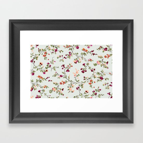 floral vines - neutrals Framed Art Print
