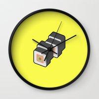 sushi Wall Clocks featuring Sushi by Paul Goerne