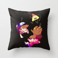 gravity falls Throw Pillows featuring Gravity Falls by ChocoChaoFun