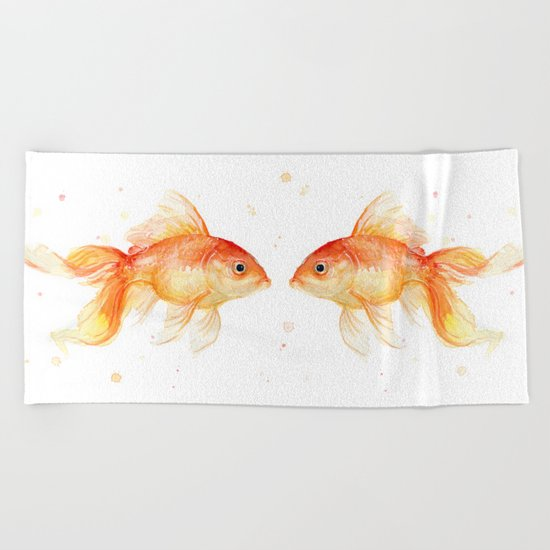 Goldfish Love Watercolor Fish Painting Beach Towel