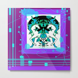 Ethereal Aqua-Purple Unicorns abstract Metal Print