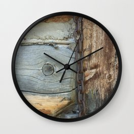 Weathered - Old Barn Wood & Rusted Chain Mormon Row Cabins Closeup Wall Clock