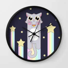 Pastel Cat Space Wall Clock