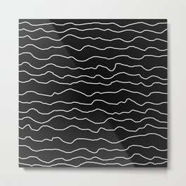Black with White Squiggly Lines Metal Print
