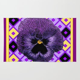 Yellow & Purple Checkered Pansy Pattern Rug