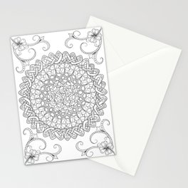 Lantana Flower Celtic Knot Mandala Stationery Cards