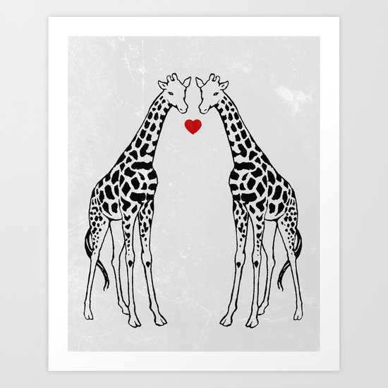 Giraffe Love Art Print