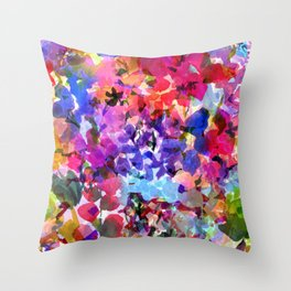 Jelly Bean Wildflowers Throw Pillow