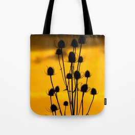 thistle silhouette sunset. Tote Bag
