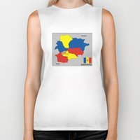 political Biker Tanks featuring political map of Andorra country with flag by tony tudor