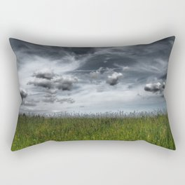 Grassland With Dark Clouds, Germany - Landscape Photography Rectangular Pillow