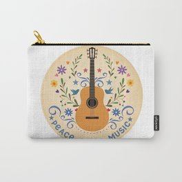 Peace Love And Music Folk Guitar Badge Carry-All Pouch