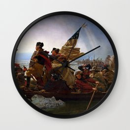 George Washington Crossing Of The Delaware River Painting Wall Clock