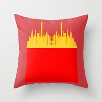 fries Throw Pillows featuring City Fries by OneWeirdDude