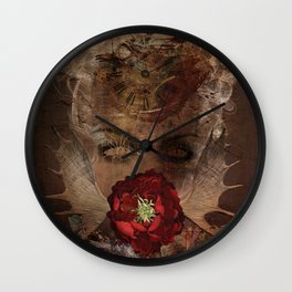Lady with the red rose Wall Clock