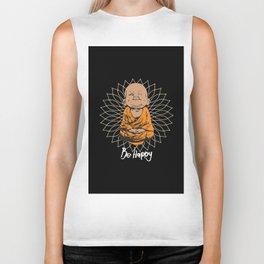 Be Happy Little Buddha Black Biker Tank