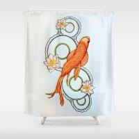 koi fish Shower Curtains featuring Koi Fish by Eleni Kakoullis
