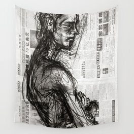 Waiting - Charcoal on Newspaper Figure Drawing Wall Tapestry