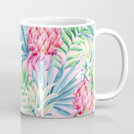 Pineapple & watercolor leaves Coffee Mug