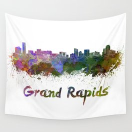 Grand Rapids skyline in watercolor Wall Tapestry